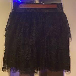 EUC Sz6 Robert Rodriguez leather & lace mini skirt
